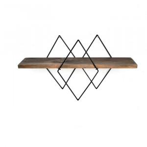 Etajera Eberle, metal/lemn, maro, 36 x 60 x 14 cm