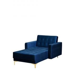 Fotoliu ABERDEEN, catifea, albastru, 107 x 168 x 83 cm