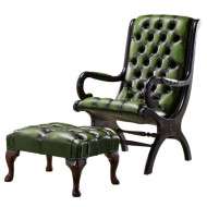 Fotoliu cu scaun pentru picioare Colunga, verde/maro, 100 x 57 x 84 cm