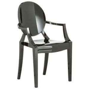 Fotoliu Louis Ghost policarbonat, negru, 54 x 94 x 55 cm