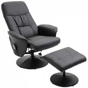 Fotoliu reclinabil Antoinet, cu masaj si scaun pentru picioare, negru, 81 x 81 x 105 cm