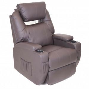 Fotoliu recliner Cinemo, cu masaj, incalzire, rotativ si cu suport pentru bauturi, piele naturala, maro