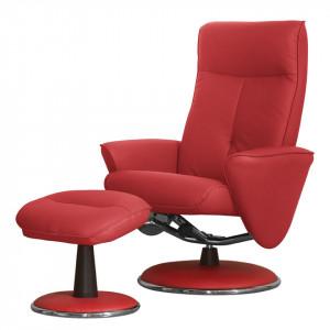Fotoliu recliner Kenzo Aulon piele sintetica/metal, rosu, 108 x 80 x 80 cm