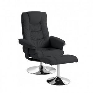 Fotoliu recliner Springfield, piele naturala/metal, negru, 77x106x69 cm