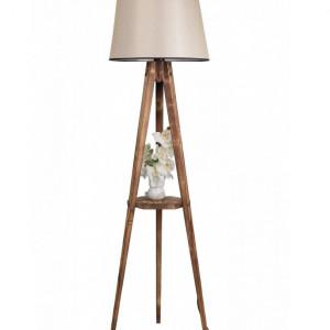 Lampadar Luin, lemn/ tesatura, maro/ bej, 160 cm H