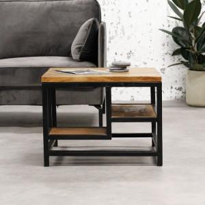 Masă de cafea Kayo, metal/lemn, maro/neagra, 47 x 60 x 60 cm