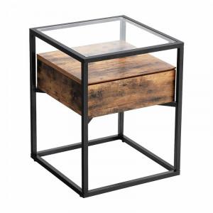 Masa laterala Monroe, negru/maro, 54 x 43 x 43 cm