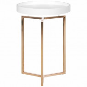 Masa laterala Noemi, MDF/metal, alba, 50 x 40 x 40 cm