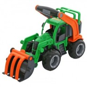 Masina de jucarie buldozer, verde / rosu