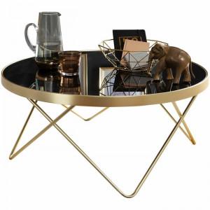Masuta de cafea Craddock, auriu/negru, 39 x 82 x 82 cm