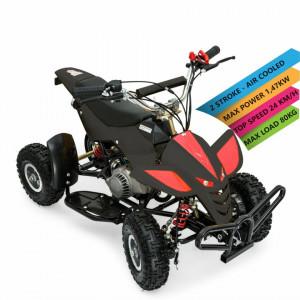 Motocicleta Quad Riders and Rollers 49cc pentru copii, +14 ani, negru/ rosu