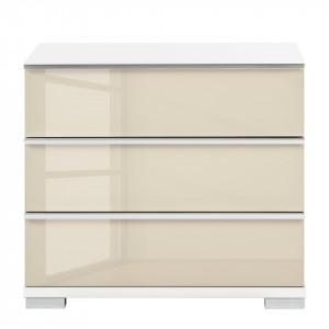 Noptiera Chicago II PAL/sticla, alb lucios/magnolie, 60 x 53 x 42 cm