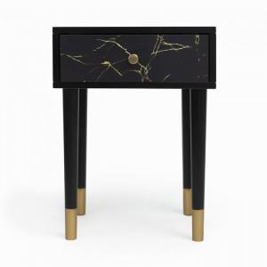Noptiera Courtenay, negru/auriu, 45 x 30 x 50 cm