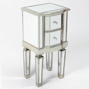 Noptieră Mcgowan cu 2 sertare, argintiu antichizat, 66 x 33 x 29 cm