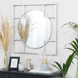 Oglinda Apolima, argintie, 71 x 71 cm