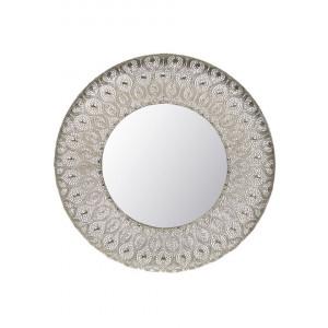 Oglinda de perete BALLIA, metal/sticla, argintie, 75 x 75 x 9 cm