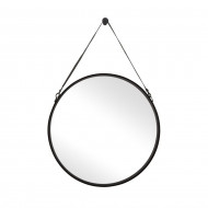 Oglinda Liz cu curea din piele, negru, 80 x 80 cm
