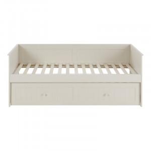 Pat extensibil Glastonbury, lemn masiv, alb piatra, 80 x 198 x 97,5 cm