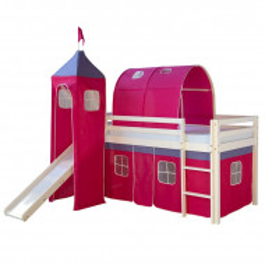 Pat pentru copii Kyree, lemn masiv, roz, 228 x 97 x 207 cm