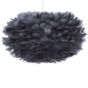 Pendul cu abajur din pene FOG, gri inchis, cablu alb, 35 x 20 cm