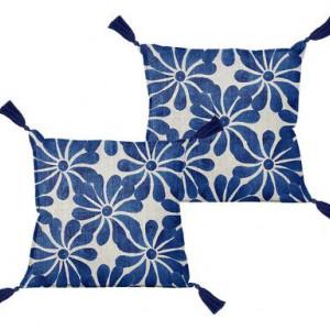 Pernă decorativă cu ciucuri Ethnic, albastru