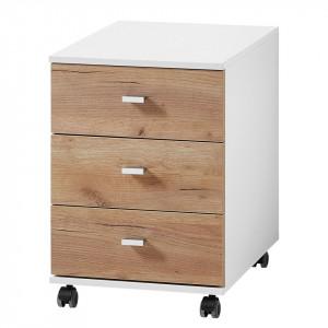 Rollcontainer Lioni PAL/stejar, maro/alb, 58 x 50 x 40 cm