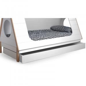 Sertar de depozitare pentru pat Anzuelo, lemn masiv, alb, 16 x 95 x 204,8 cm