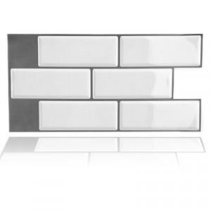 Set 12 plăci autocolante din PVC, alb, 30 x 15 cm