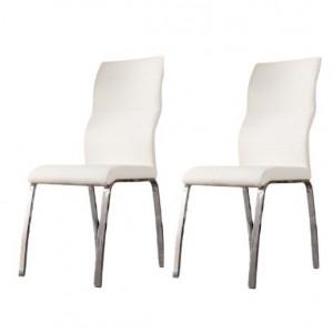 Set 2 scaune tapițate Strout, alb, 100cm H x 60cm W x 60cm D