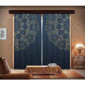 Set de 2 draperii Ufuk, albastre/verzi, 140 x 260 cm
