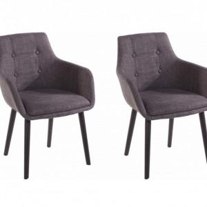 Set de 2 fotolii Bradford, tesatura, gri/negru, 59x55x79 cm