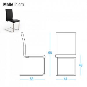 Set de 2 scaune Augusta I din piele naturala, maro, fara brate