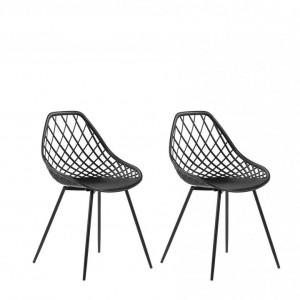 Set de 2 scaune Canton, negru, 46 x 52 x 86 cm