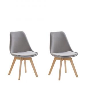 Set de 2 scaune Dakota II, gri/maro, 47 x 57 x 82 cm