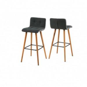 Set de 2 scaune de bar Kaja (2er Set) stejar masiv / tesatura gri/antracit
