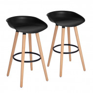 Set de 2 scaune de bar Tata, negru, 78 x 44,5 x 44cm