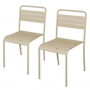 Set de 2 scaune de fier Kansas, bej