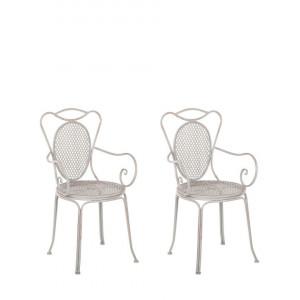 Set de 2 scaune de gradina Cilento, gri, 50 x 43 x 94 cm