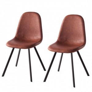Set de 2 scaune Kallax II, imitatie piele, maro cognac