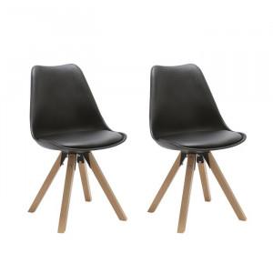 Set de 2 scaune Lacy, lemn, negre, 87 x 48 x 52 cm