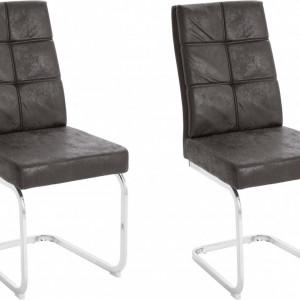 Set de 2 scaune Lale, microfibra/metal, antracit/argintiu, 45x61x95 cm
