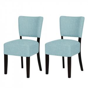Set de 2 scaune Lana tesatura/fag, albastru deschis, 44 x 82 x 43 cm