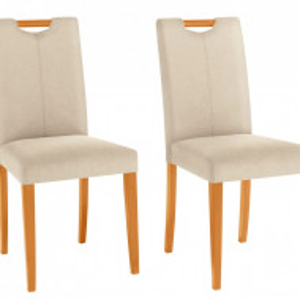Set de 2 scaune Siena - tapitate - crem/lemn