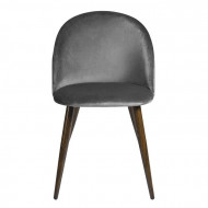 Set de 2 scaune tapitate Abel, gri/maro, 77,5 x 49 x 53 cm