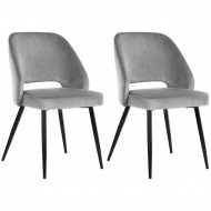 Set de 2 scaune tapitate Eagle, negru/gri, 82 x 51 x 55 cm