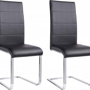 Set de 2 scaune tapitate Josy piele sintetica/metal, negru/argintiu, 42 x 44 x 103 cm