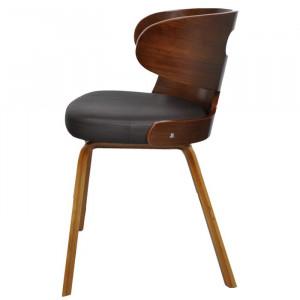 Set de 2 scaune tapitate, maro/negre, 68,5 x 49,5 x 52 cm