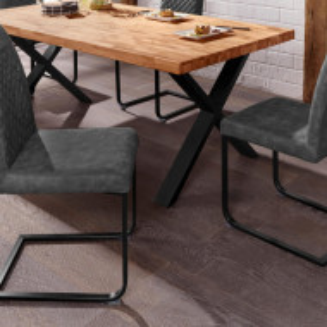 Set de 2 scaune Willy, microfibra/metal, gri/negru, 45 x 60 x 97 cm