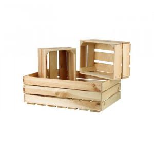 Set de 3 ladite, lemn, maro