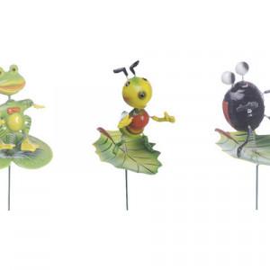 Set de 4 decoratiuni gradina Karll fluture/libelula/albina/broasca/pasare/furnica
